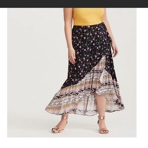TORRID challis wrap high low skirt boho print